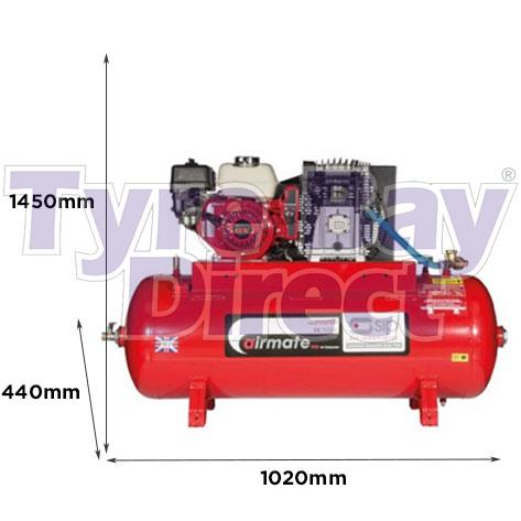 Airmate ISHP5.5/150 Industrial Air Compressor – Honda Petrol dimensions