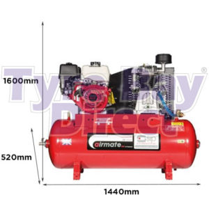 Airmate ISHP8/200 Industrial Air Compressor - Honda Petrol dimensions
