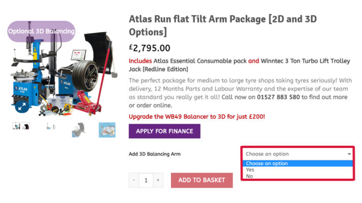 Atlas Run-Flat Tilt Arm Package webpage
