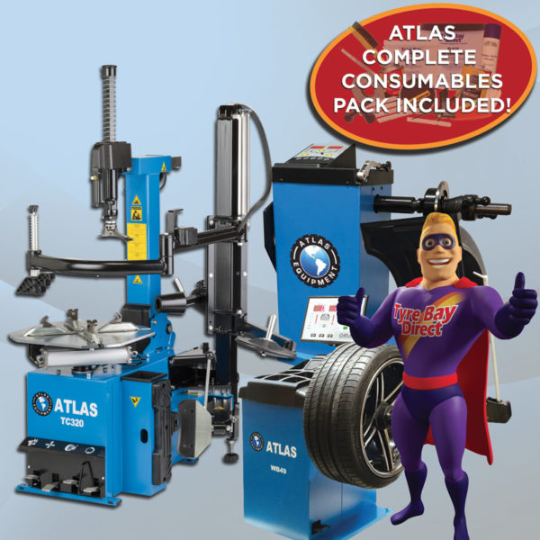 Atlas TC320 consumables & wheel balancer offer package collage