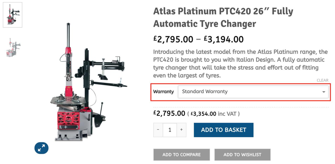 Atlas Warranty Drop-down box example