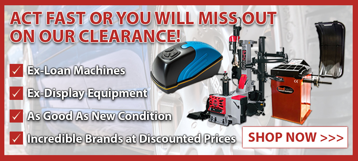 Act fast or you will miss out on our incredible clearance tyre fitting machines - discounted to amazing prices, these are some offers that you will kick yourself if you don't invest.