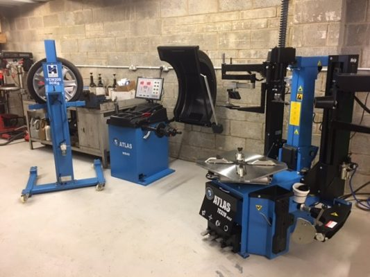 This garage was not messing around with their latest investment in Atlas tyre fitting equipment & Hofmann Megaplan wheel lifter.