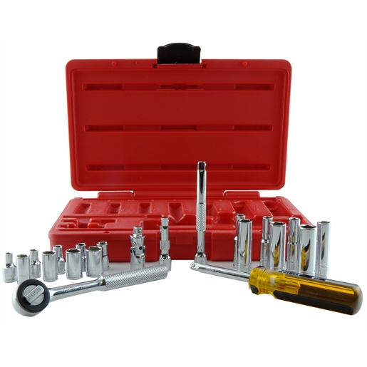 Socket Set 1/4 Dr 6 Point Metric 4-11mm 21Pc