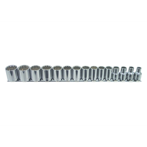 15pc Standard Metric Socket Set 3/8 Drive 12 Point