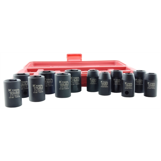 12pc Impact Standard Metric Socket Set 1/2 Drive