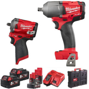 Milwaukee MWM18FPP2AE-564P Impact Wrench Twin Pack at Tyre Bay Direct