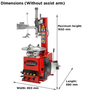 RB200 Clearance Tyre Changer Dimensions