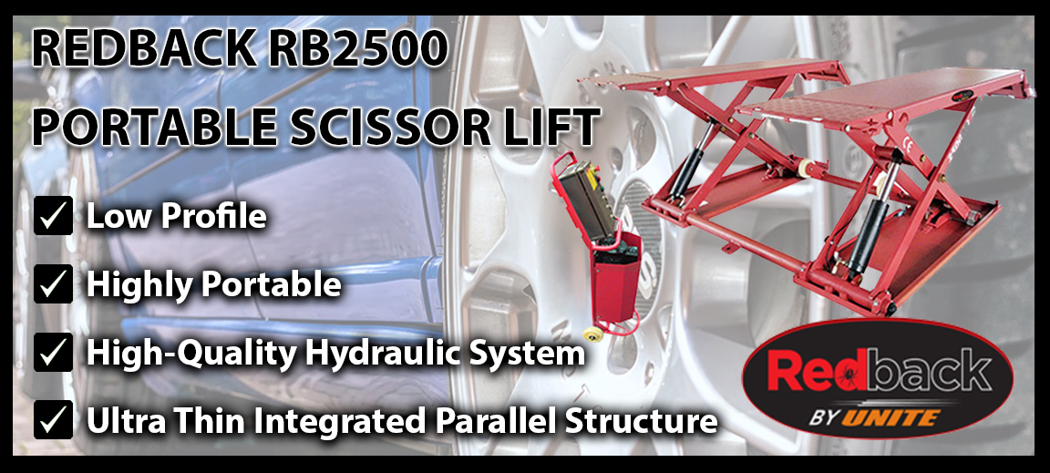 Highly portable Redback RB2500 ultra thin scissor lift for a more versatile vehicle lifting solution.