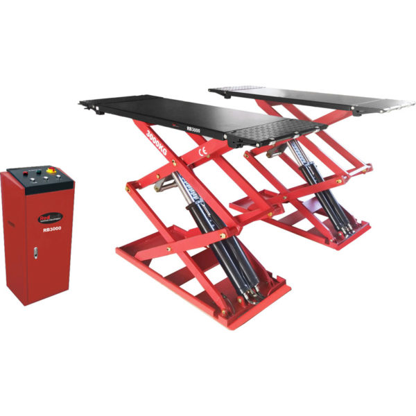 Redback RB3000 Full Rise Ultra Thin Surface Mounted Car Scissor Lift for Garages from Tyre Bay Direct.