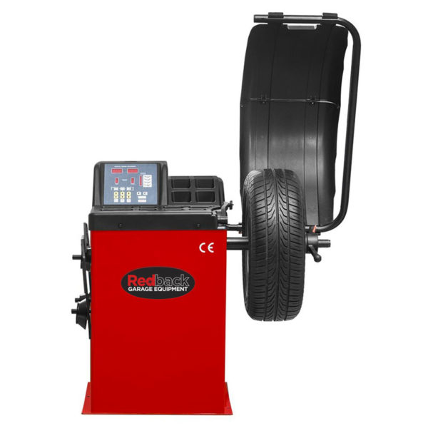Redback RB800 Wheel Balancer hood up with wheel mounted