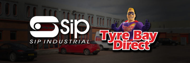 SIP Logo & Tyre Bay DIrect logo showing partnership on air compressors