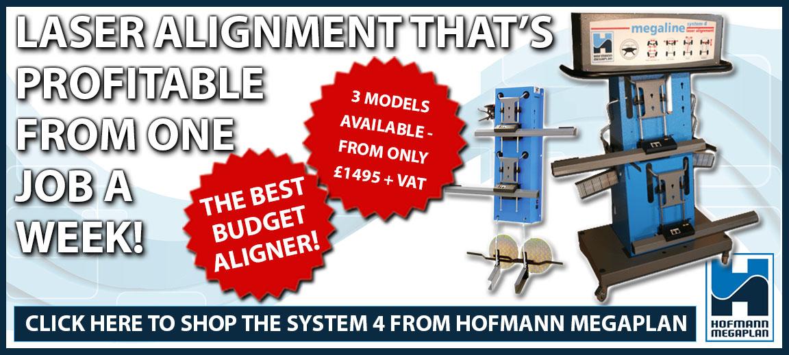 The megaline System 4 Laser Wheel Aligner from Hofmann Megaplan.