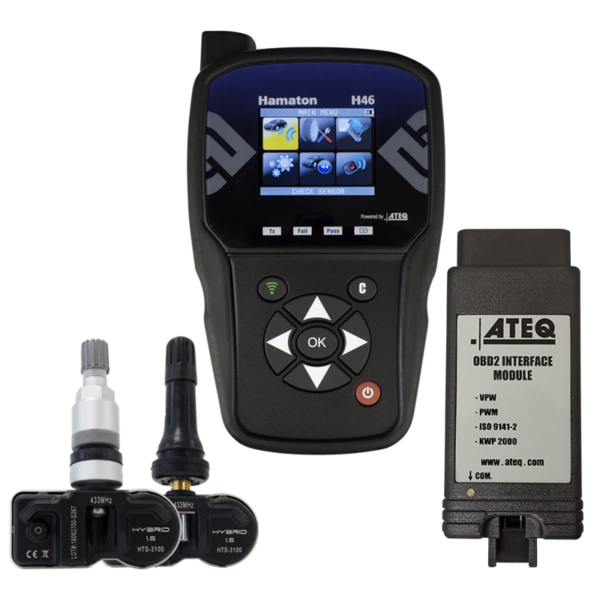 H46 TPMS Diagnostic Tool with OBDII and T-Pro Sensor Bundle [8, 16