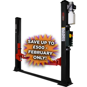 RB4000 two post vehicle lift with £200 off splash banner