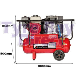 Airmate ISHP5.5/50 Industrial Air Compressor - Honda Petrol dimensions