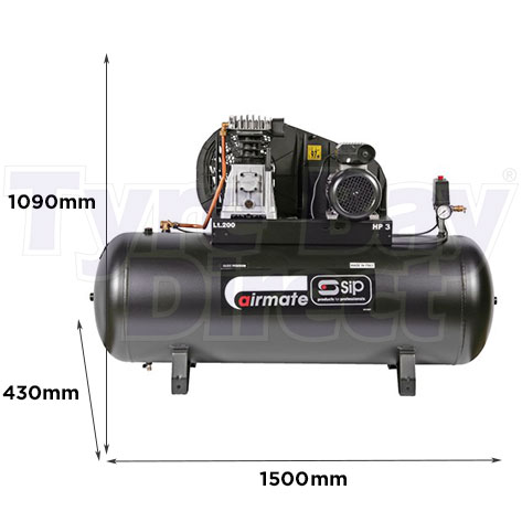 PX3/200-SRB Air Compressor dimensions