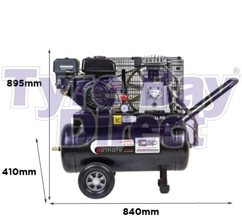 Airmate TP7.0/50 Petrol Air Compressor dimensions