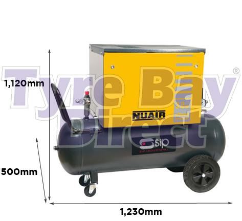 Airmate B3800/3M/100 Silenced Compressor dimensions