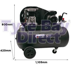 SIP Airmate TN3/100-SRB Oil Lubricated Air Compressor dimensions
