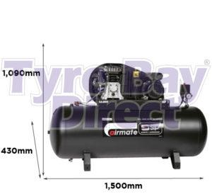 Airmate TN3/200-SRB Trade Belt Drive Air Compressor dimensions
