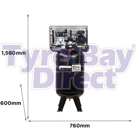SIP Airmate VN3/150-SB Vertical Air Compressor dimensions