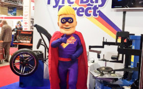 Tyre Bay Dave with Automechanika Tyre Bay Dave stand