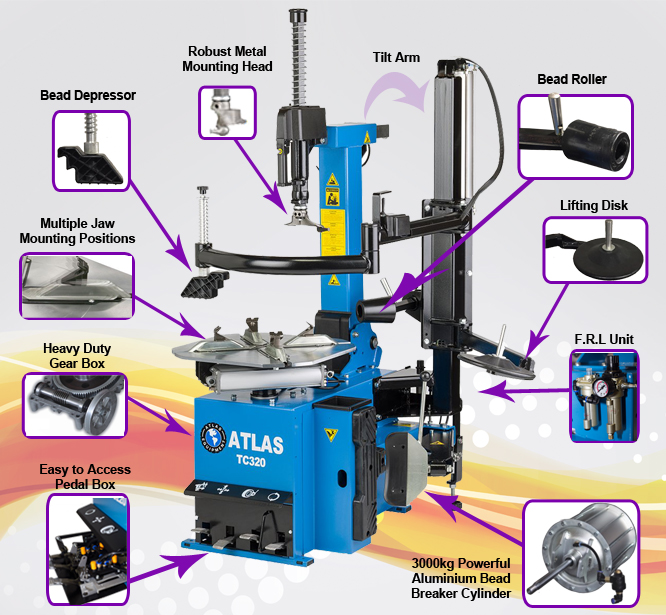 TC320 - Fully Automatic 24'' Tyre Changer