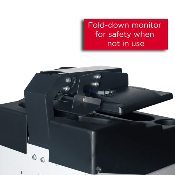 Fold down monitor for safety