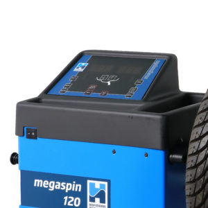 The easy to use screen on the megaspin 120 Wheel Balancer from Hofmann Megaplan.