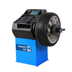 The megaspin 220 Wheel Balancer from Hofmann Megaplan for garages.