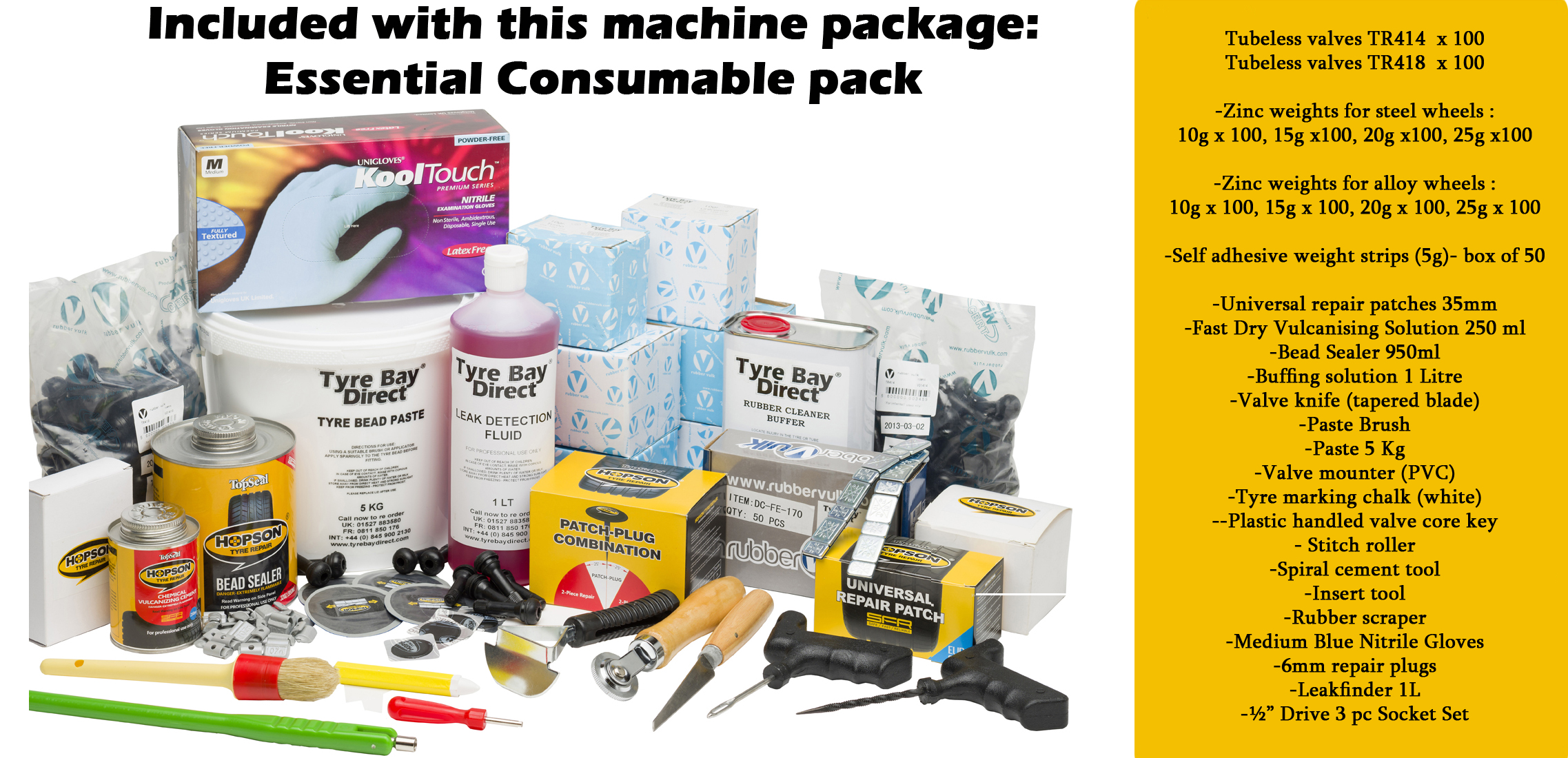 Tyre Bay Direct Equipment Package Essential Consumables Pack